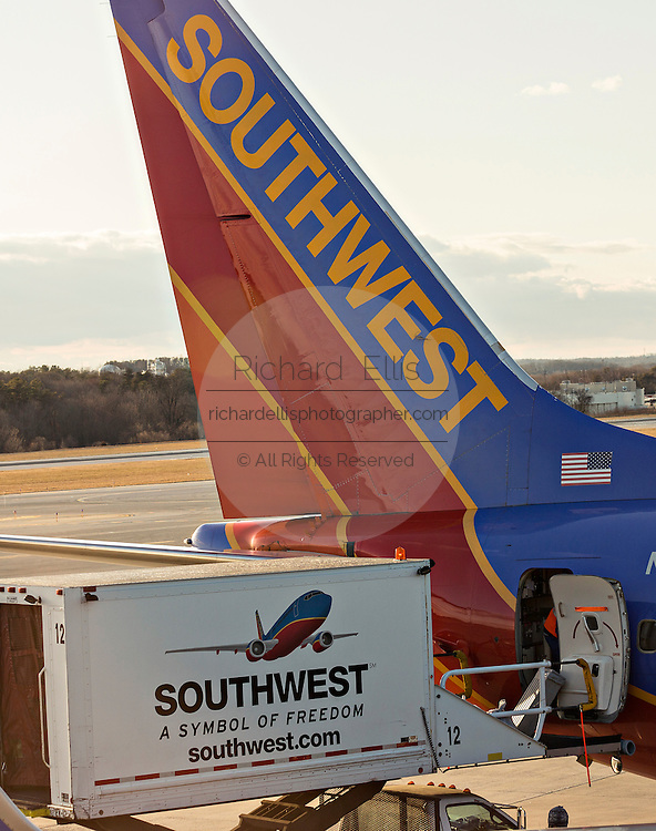 Southwest Airlines Boeing 737 aircraft line up at the gate in Memphis, TN.