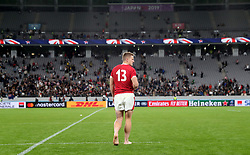 Wales' Jonathan Davies appears dejected after the final whistle of the 2019 Rugby World Cup bronze final match at Tokyo Stadium.