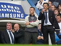 Photo: Daniel Hambury.<br />Chelsea v Aston VIlla. The Barclays Premiership.<br />24/09/2005.<br />Chelsea's Jose Mourinho looks pensive before his side score the second goal.