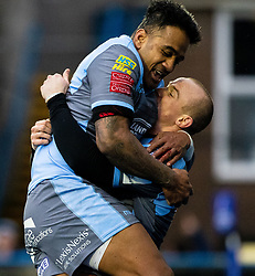Dan Fish of Cardiff Blues with team-mate Rey Lee-Lo celebrates scoring his sides second try<br /> <br /> Photographer Simon King/Replay Images<br /> <br /> European Rugby Champions Cup Round 4 - Cardiff Blues v Saracens - Saturday 15th December 2018 - Cardiff Arms Park - Cardiff<br /> <br /> World Copyright © Replay Images . All rights reserved. info@replayimages.co.uk - http://replayimages.co.uk