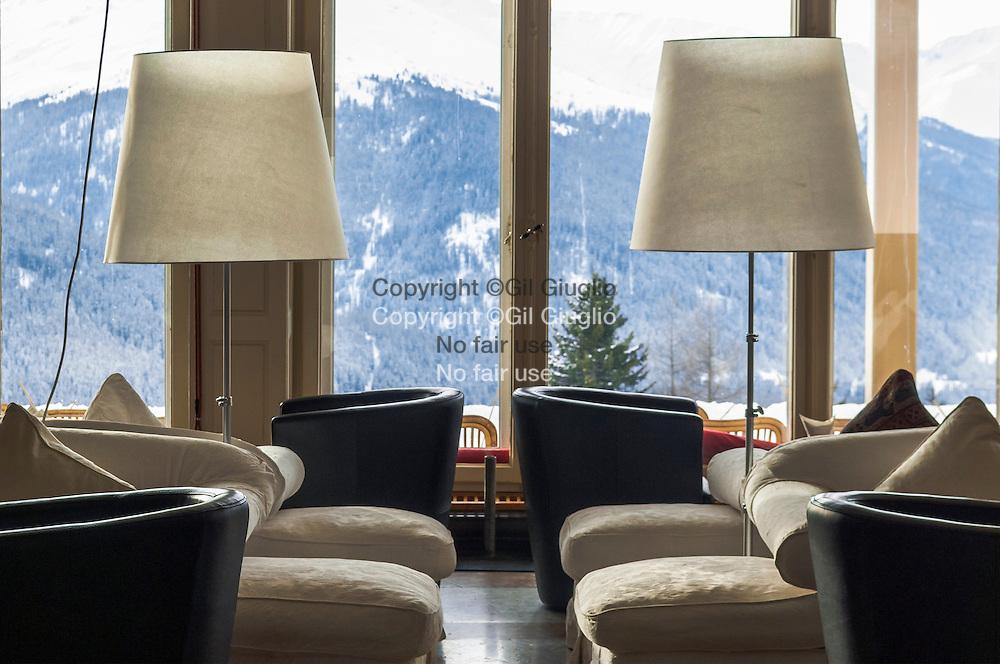 Suisse, canton des Grisons, ville de Davos, piano bar et salon  hôtel Schatzalp  // Switzerland, canton of Grisons, city of Davos, piano bar and saloon of Schatzalp hotel