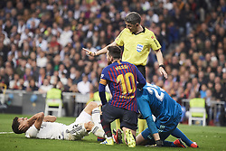March 2, 2019 - Madrid, Madrid, Spain - Thibaut Courtois (goalkeeper; Real Madrid), Lionel Messi (forward; Barcelona), Sergio Reguilon (defender; Real Madrid) in action during La Liga match between Real Madrid and FC Barcelona at Santiago Bernabeu Stadium on March 3, 2019 in Madrid, Spain (Credit Image: © Jack Abuin/ZUMA Wire)
