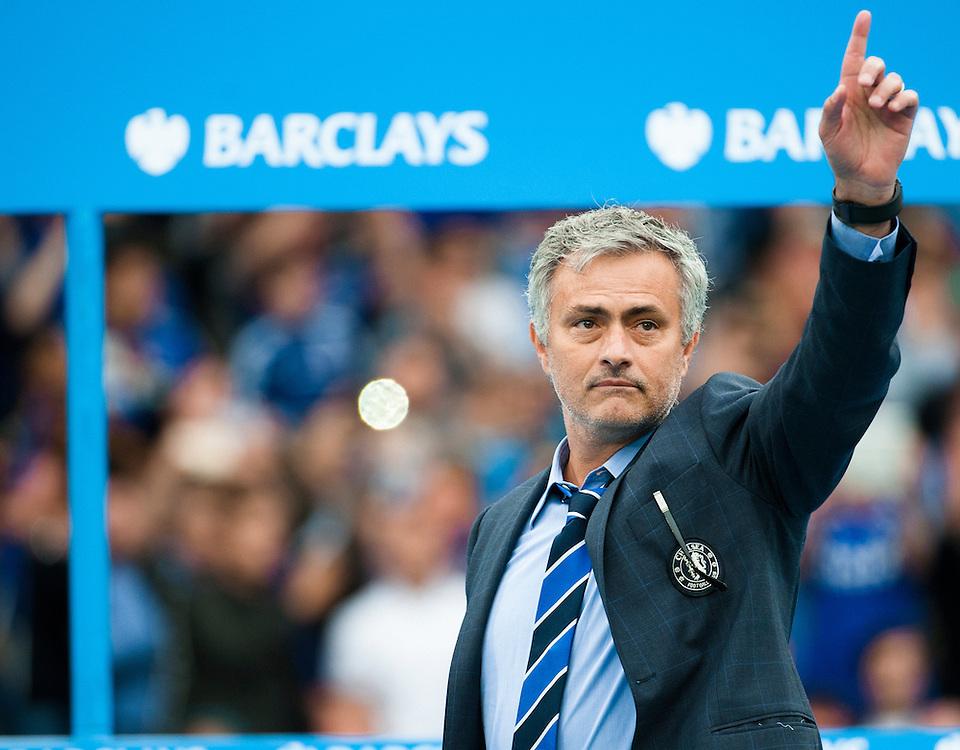 as Chelsea celebrate winning the Premier League Title after the Barclays Premier League match at Stamford Bridge, London<br /> Picture by Jack Megaw/Focus Images Ltd +44 7481 764811<br /> 24/05/2015