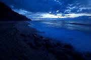 Sunset, Kalalau Beach, Napali Coast, Kauai, Hawaii