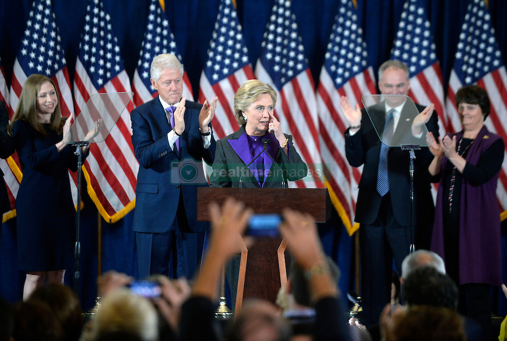 Presidential candidate Hillary Clinton delivers her concession speech Wednesday, from the New Yorker Hotel's Grand Ballroom in New York city , NY, on November 9, 2016. Photo by Olivier Douliery/Abaca