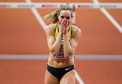 Cindy Roleder of Germany reacts after winning in the 60m Hurdles Women Final on day one of the 2017 European Athletics Indoor Championships at the Kombank Arena on March 3, 2017 in Belgrade, Serbia. Photo by Vid Ponikvar / Sportida