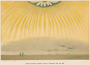 Aurora Borealis or Northern Lights observed from northern Norway, 10 October 1868. This luminous atmospheric electrical phenomenon is most spectacular at time of sunspot maximum. From 'Elementary Treatise on Physics', A Ganot, (London, 1906). Chromolithograph.