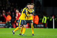 Lucas Perez (9) of Arsenal is congratulated by Alex Oxlade-Chamberlain after scoring a goal to bring the score back to 3-2 during the Premier League match between Bournemouth and Arsenal at the Vitality Stadium, Bournemouth, England on 3 January 2017. Photo by Graham Hunt.
