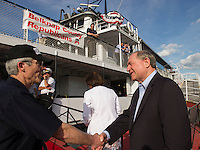 Jim Gilmore former governor of Virginia boards the M/S Mt Washington Friday evening for the Belknap County Republican cruise.  (Karen Bobotas/for the Laconia Daily Sun)