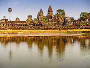 "13 MARCH 2015 - SIEM REAP, SIEM REAP, CAMBODIA:  Angkor Wat, the main temple for which the Angkor Wat complex is named after. The area known as ""Angkor Wat"" is a sprawling collection of archeological ruins and temples. The area was developed by ancient Khmer (Cambodian) Kings starting as early as 1150 CE and renovated and expanded around 1180CE by Jayavarman VII. Angkor Wat is now considered the seventh wonder of the world and is Cambodia's most important tourist attraction.   PHOTO BY JACK KURTZ"