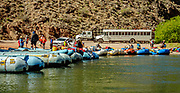 Take out rafts at Diamond Creek at Colorado River Mile 225.9 on the Hualapai Indian Reservation, on the last of 16 days rafting 226 miles down the Colorado River through Grand Canyon National Park, Arizona, USA. For this photo's licensing options, please inquire at PhotoSeek.com. .