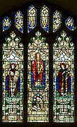 Great Glemham church, Suffolk, stained glass window east window Risen Christ flanked by St Michael and St Gabriel by Powell & Son c 1915