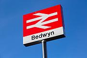 Double arrow British Rail logo designer Gerry Barney, Great Bedwyn railway station, Wiltshire, England, UK