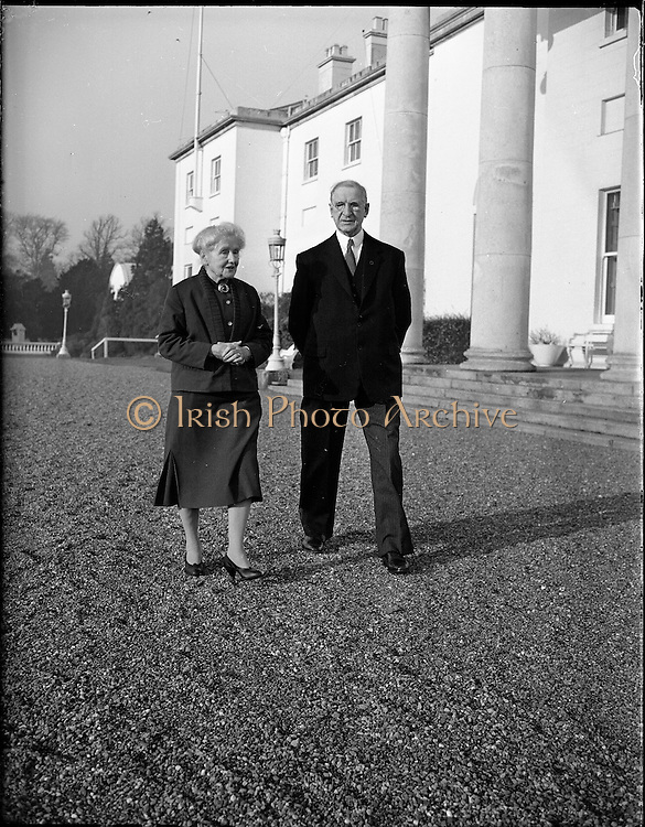 President Eamon de Valera and Mrs. de Valera celebrate their Golden Wedding Anniversary at Áras an Uachtarain..1960..07.01.1960..01.07.1960..7th January 1960...Portrait taken of Mr and Mrs DeValera to celebrate fifty years of marriage. The picture was taken as they strolled through  the grounds of Áras an Uachtarain in the Phoenix Park, Dublin.