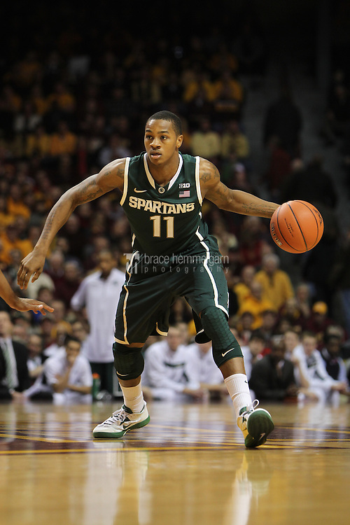 Dec 31, 2012; Minneapolis, MN, USA; Michigan State Spartans guard Keith Appling (11) against the Minnesota Golden Gophers at Williams Arena. Minnesota defeated Michigan State 76-63. Mandatory Credit: Brace Hemmelgarn