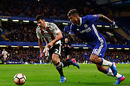 Maxime Colin of Brentford (L) in action with Ruben Loftus-Cheek of Chelsea (R). The Emirates FA Cup 4th round match, Chelsea v Brentford at Stamford Bridge in London on Saturday 28th January 2017.<br /> pic by Steffan Bowen, Andrew Orchard sports photography.