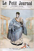 Carolina Otero - La Belle Otero (1868-1965), Spanish-born  actress, dancer, and courtesan, as she appeared as a star of the Folies Bergere.  From 'Le Petit Journal', 12 March 1894. France, Entertainment