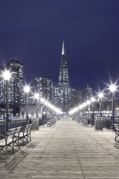 Buildings at downtown from Embarcadero at night, San Francisco, California, United States