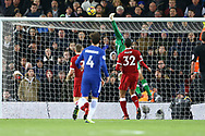 Liverpool Goalkeeper Simon Mignolet is unable to stop Willian of Chelsea (not in picture) from scoring his teams 1st goal to make it 1-1. Premier League match, Liverpool v Chelsea at the Anfield stadium in Liverpool, Merseyside on Saturday 25th November 2017.<br /> pic by Chris Stading, Andrew Orchard sports photography.