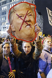 November 9, 2016 - New York, US, UK - New York, USA. Thousands of anti-Trump demonstrators protest outside Trump Tower after marching from Union Square in New York City, on Wednesday, 9 November 2016 following the presidential election won by Donald Trump. (Credit Image: © Tolga Akmen/London News Pictures via ZUMA Wire)