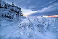 A frozen landscape at dusk in Michigan's Upper Peninsula