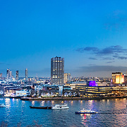 A panoramic shot of the River Thames London, looking east to west from the north bank.