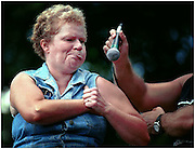Jul 10, 1999; East Dublin, GA, USA; Caught cheating during the Armpit Serenade contest 41-year-old Karen Maddox was disqualified after using her mouth to serenade the judges during the Fourth Annual Summer Redneck Games in East Dublin, Ga. Photo by Stephen Morton/ZUMA Press.
