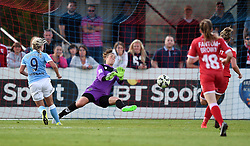 Bristol Academy's Mary Earps deflects a shot from Manchester City Women's Toni Duggan - Photo mandatory by-line: Paul Knight/JMP - Mobile: 07966 386802 - 18/07/2015 - SPORT - Football - Bristol - Stoke Gifford Stadium - Bristol Academy Women v Manchester City Women - FA Women's Super League