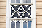 Detail of wood windows, historic wooden cathedral church in city centre, Tromso, Norway