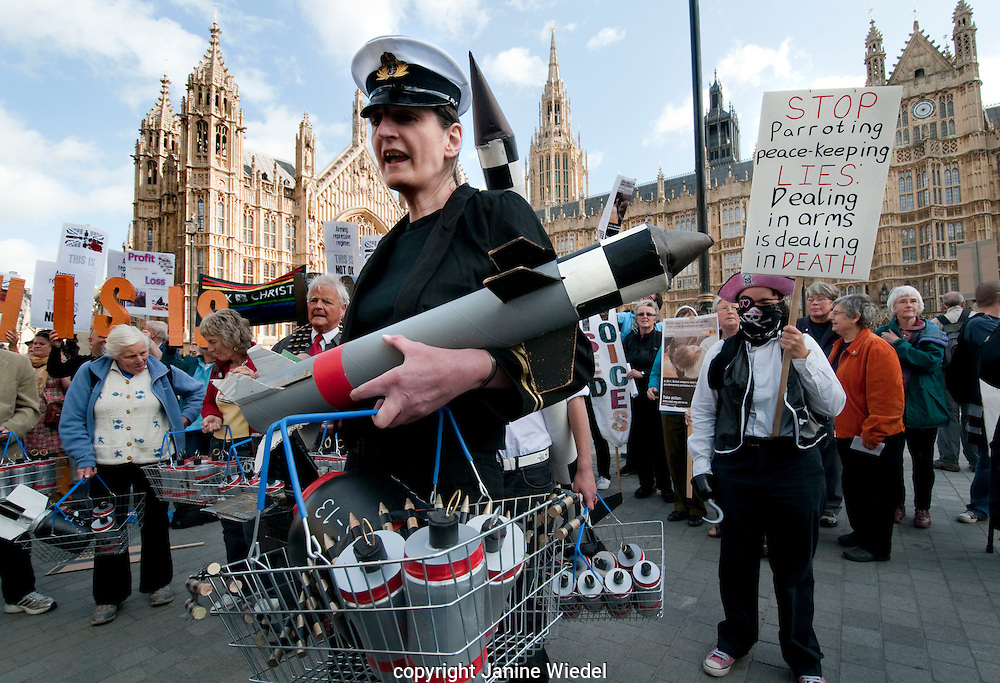 Protest outside House of Parliament London against the arms trade industry