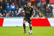 Danny Simpson of Leicester City in action. Premier league match, Swansea city v Leicester city at the Liberty Stadium in Swansea, South Wales on Saturday 21st October 2017.<br /> pic by Aled Llywelyn, Andrew Orchard sports photography.