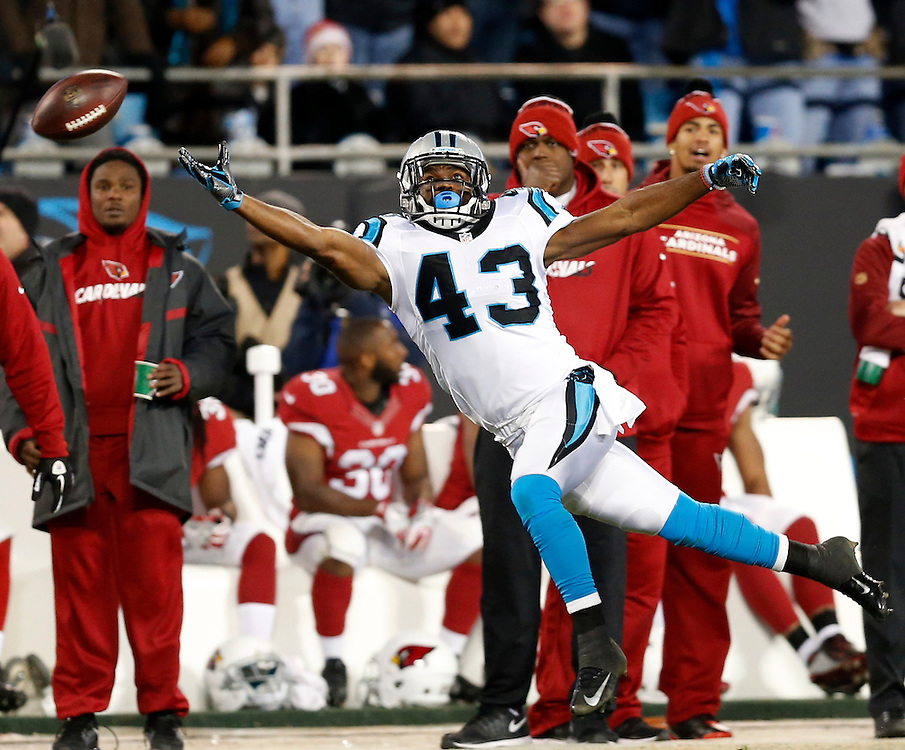 CHARLOTTE, NC - JAN 24:  Running back Fozzy Whittaker #43 of the Carolina Panthers misses a pass during the NFC Championship game against the Carolina Panthers at Bank of America Stadium on January 24, 2016 in Charlotte, North Carolina.