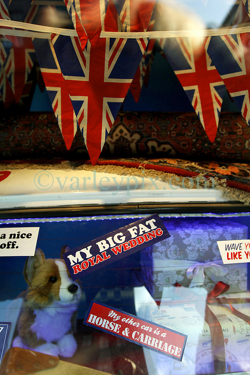 22 April 2011. London, England..Royal wedding inspired window display at Liberty's store in the heart of London's West End. Business is booming with Royal wedding related gifts as tourists flock to the Capital in advance of the big day..Photo; Charlie Varley.