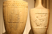 left - Attic marble funerary Lakythos with a farewell scene.  Athens, 350-320 BC.  Right - Attic marble funerary Lakythos with scene of dexiosis c 350 BC