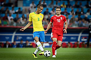 Miranda of Brazil and Dusan Tadic of Serbia during the 2018 FIFA World Cup Russia, Group E football match between Erbia and Brazil on June 27, 2018 at Spartak Stadium in Moscow, Russia - Photo Thiago Bernardes / FramePhoto / ProSportsImages / DPPI