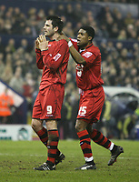 Photo: Rich Eaton.<br /> <br /> West Bromwich Albion v Cardiff City. Coca Cola Championship. 20/02/2007. Stephen Thompson left of Cardiff is consoled by Iwan  Redan after a miss on goal midway through the seccond half