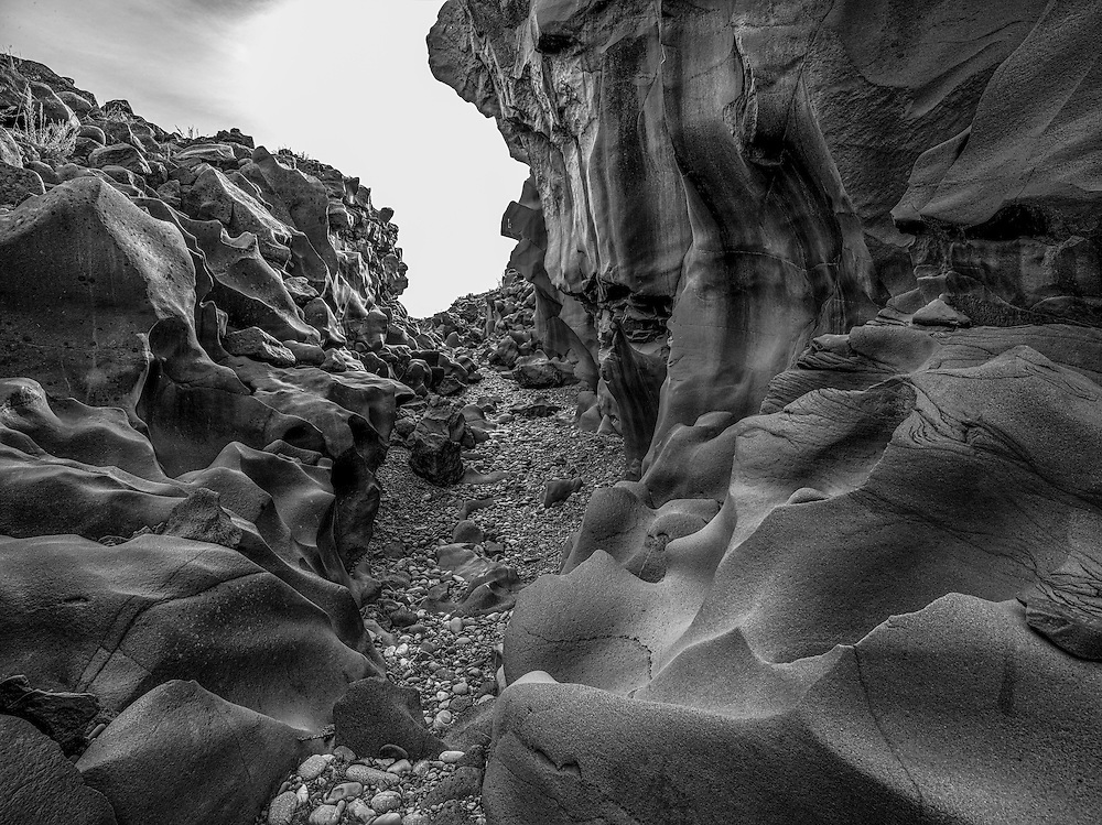 Limited Editions of 8<br /> Volcanic river channel formation through basalt in South Central Idaho near Shoshone. Black and White Fine Art Prints