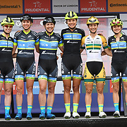 Team Tibco – Silicon Valley Bank (USA) photocall at Prudential RideLondon Classique at the Mall on 28 July 2018, London, UK