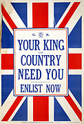 World War I poster for recruiting soldiers to the British Army. Circa 1914-15