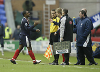 Photo: Aidan Ellis.<br /> Wigan Athletic v West Bromwich Albion. The Barclays Premiership. 15/01/2006.<br /> West Brom's Nathan Ellington is substituted on his return to wigan at the end of the first half