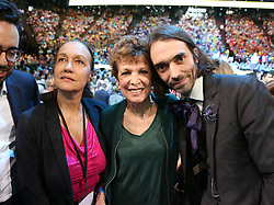 Laurence Haim, Catherine Laborde, Cedric Villani attending a campaign meeting of Presidential election candidate for the En Marche ! movement Emmanuel Macron on April 17, 2017 at the Bercy Arena in Paris. Macron planned his biggest rally yet at the Bercy sports and concert hall, a venue with a capacity of 20,000. The location near the economy ministry serves as a reminder that the relatively inexperienced Macron held the key economy portfolio for two years under his mentor Hollande. Photo by Somer/ABACAPRESS.COM