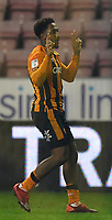 Hull City's Mallik Wilks celebrates scoring his team's opening goal<br /> <br /> Photographer Dave Howarth/CameraSport<br /> <br /> The EFL Sky Bet League One - Wigan Athletic v Hull City - Wednesday 17th February 2021 - DW Stadium - Wigan<br /> <br /> World Copyright © 2021 CameraSport. All rights reserved. 43 Linden Ave. Countesthorpe. Leicester. England. LE8 5PG - Tel: +44 (0) 116 277 4147 - admin@camerasport.com - www.camerasport.com