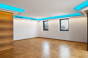 Empty living room with LEDs that color the blow. Nobody inside