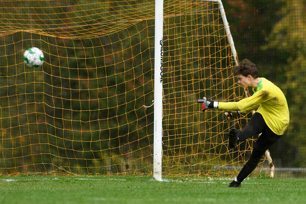 Stowe goalie kicks the ball down the field during the boys soccer game between the Harwood Highlanders and the Stowe Raiders at Stowe High School on Tuesday afternoon September 24, 2019 in Stowe, Vermont. (BRIAN JENKINS/for the FREE PRESS)