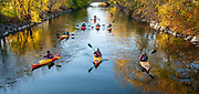 High school students in the Madison School & Community Recreation Outdoor Adventure Club kayak down the Yahara River on Oct. 27th. (Photo © Andy Manis)