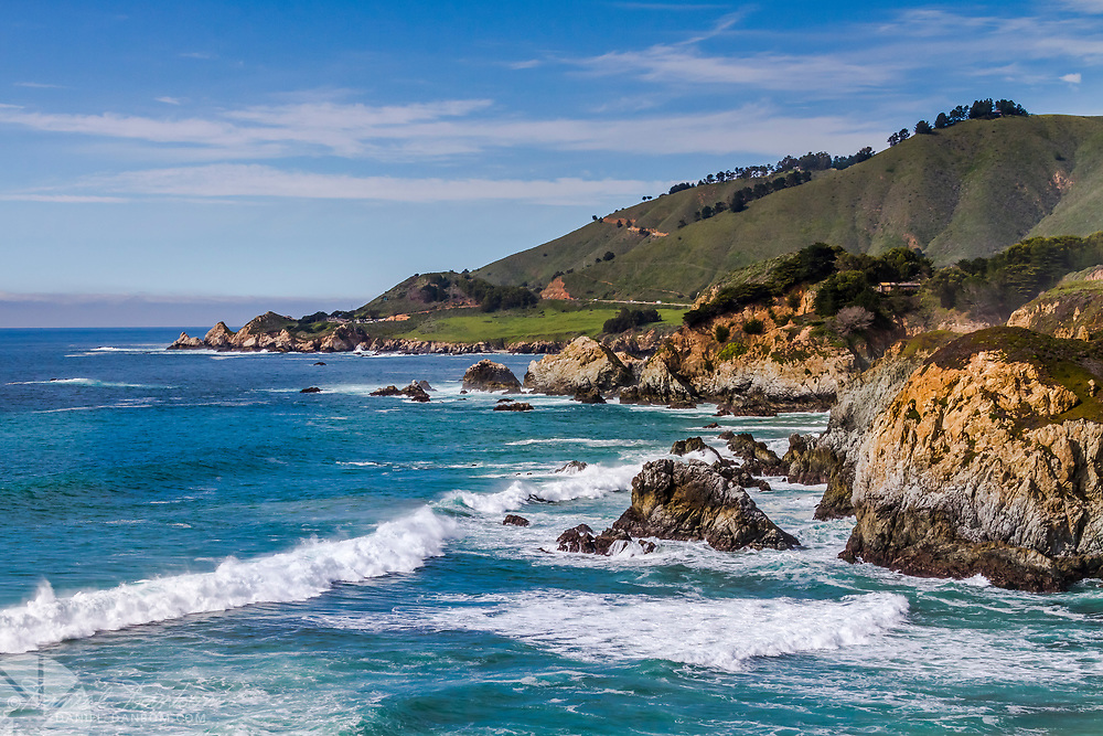The view to the north to Rocky Point, from Rocky Creek, on the Big Sur Coast of California along Highway 1
