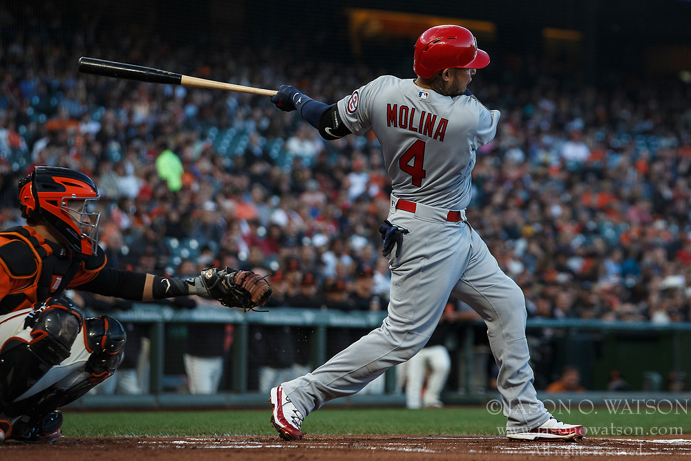 SAN FRANCISCO, CA - JULY 06: Yadier Molina #4 of the St. Louis Cardinals at bat against the San Francisco Giants during the first inning at AT&T Park on July 6, 2018 in San Francisco, California. The San Francisco Giants defeated the St. Louis Cardinals 3-2. (Photo by Jason O. Watson/Getty Images) *** Local Caption *** Yadier Molina