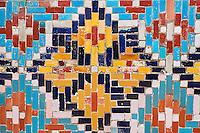 Ouzbekistan, region de Fergana, Kokand, capitale du Khanat de Kokand, Palais du Khan, Khoudayar Khan datant du XIX è siècle, faience polychrome // Uzbekistan, Fergana region, Kokand, capital of Khanat of Kokand, Palace of the Khan, Khoudayar Khan, XiX century,  polychrome ceramics