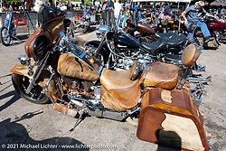 Bob Invester's hide covered 1999 Suzuki Intruder that won the Radical Bagger class in the Dennis Kirk Garage Build bike show at the Iron Horse Saloon during the Sturgis Motorcycle Rally. SD, USA. Tuesday, August 10, 2021. Photography ©2021 Michael Lichter.