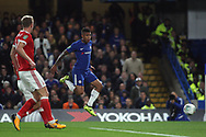 Kenedy of Chelsea (R) scores his team's first goal. Carabao Cup 3rd round match, Chelsea v Nottingham Forest at Stamford Bridge in London on Wednesday 20th September 2017.<br /> pic by Steffan Bowen, Andrew Orchard sports photography.